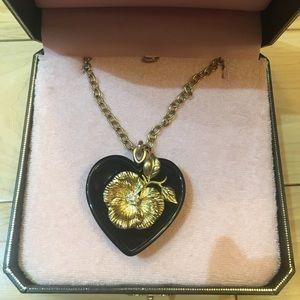 Juicy Couture long black heart pendant necklace